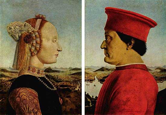 Piero della Francesca, retrato de federico de montefeltro y su esposa