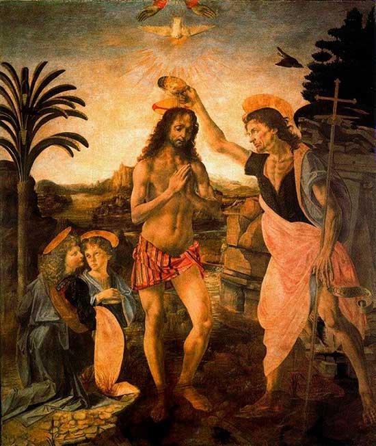 El bautismo de Cristo del Verrochio